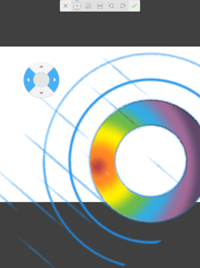 The nudge tool (circular object with arrows) can be used for refining the position of a layer.