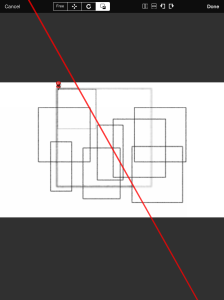 Using a pin the example image can scale the square directly from the corner.